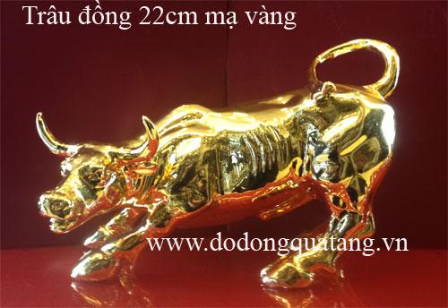 Linh vật trâu đồng mạ vàng 22cm0