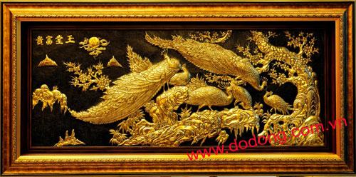 tranh trang trí nội thất bằng đồng dát vàng