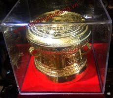 Trống đồng dk 12cm mạ vàng lưu niệm – Đồ đồng quà tặng