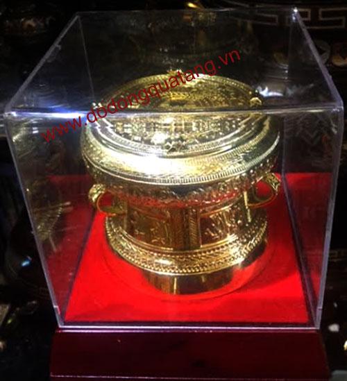 quà tặng trống đồng mạ vàng 12cm