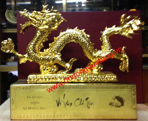 Linh vật rồng phong thủy mạ vàng,tượng rồng để bàn0