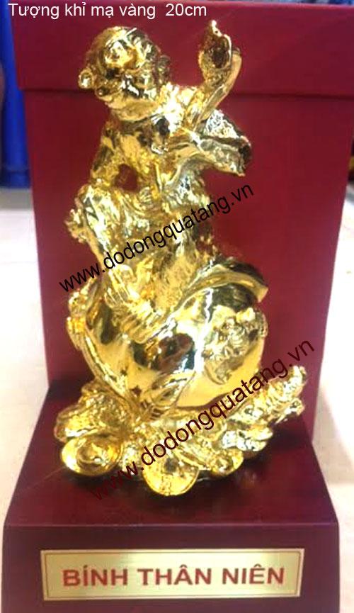Tượng khỉ đồng mạ vàng,khỉ ngồi quà đào,quà tặng 2016