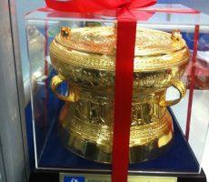 Bộ trống đồng 15,quà tặng mạ vàng trống đồng đúc 15cm