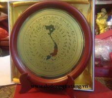 Đĩa mặt trống đồng khắc bản đồ đk 20cm