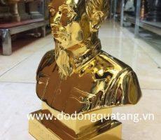 Tượng Bác hồ đồng đỏ mạ vàng 24k cao 25cm