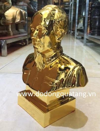 Tượng Bác hồ đồng đỏ mạ vàng 24k cao 25cm0