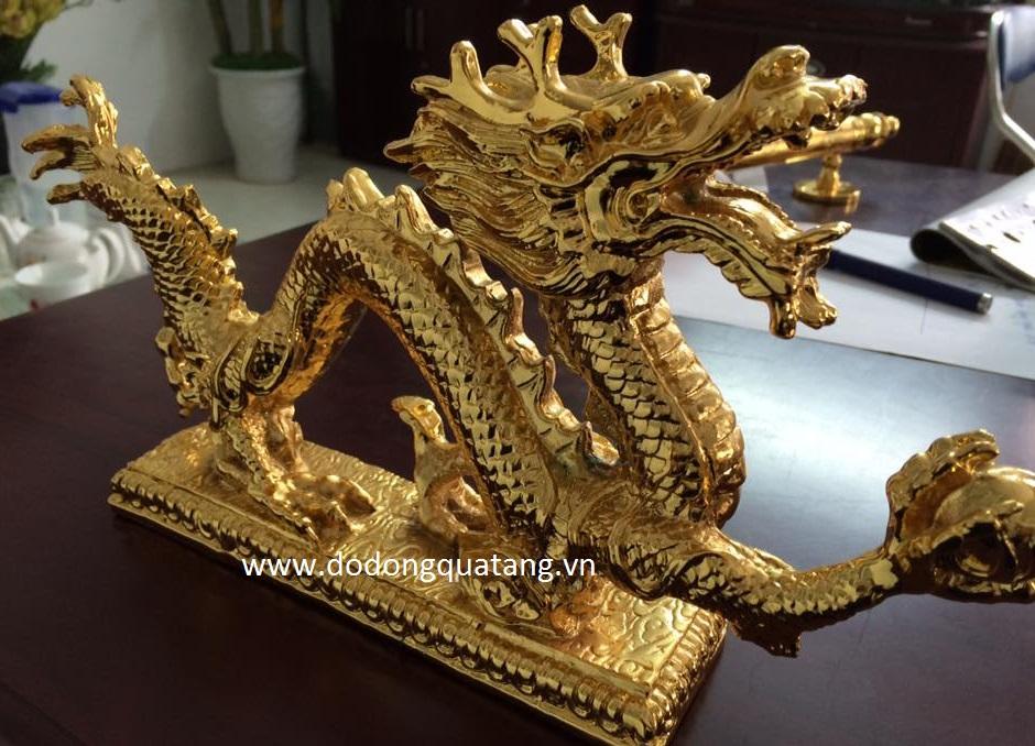 Tượng rồng mạ vàng,linh vật rồng dát vàng0