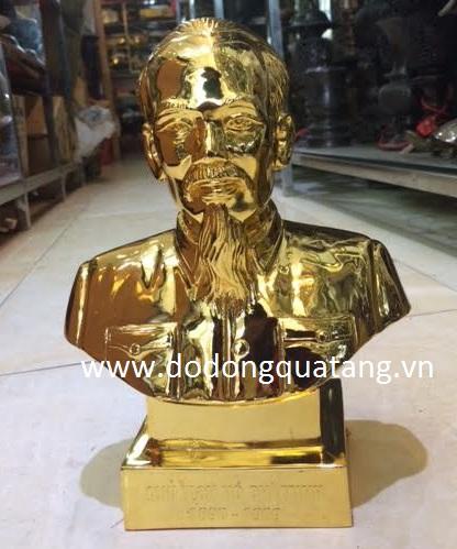 quà tặng quan chức tượng đồng Bác hồ mạ vàng