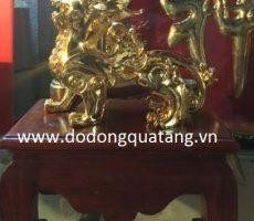 Tượng tỳ hưu đồng mạ vàng 24k 18cm