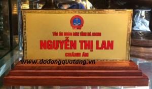 Biển tên chức danh ngành tòa án nhân dân bằng đồng mạ vàng