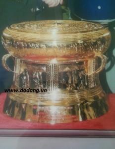Trống đồng mạ vàng 24k dk 46cm làm quà biếu vip
