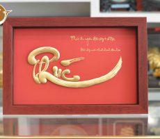 Tranh chữ phúc thư pháp mạ vàng 24k-quà tặng cha mẹ
