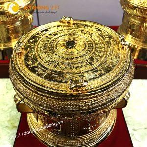 Trống đồng có 4 cóc,trống không cóc dk 20cm mạ vàng 24k