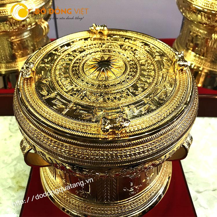 Trống đồng có 4 cóc,trống không cóc dk 20cm mạ vàng 24k0