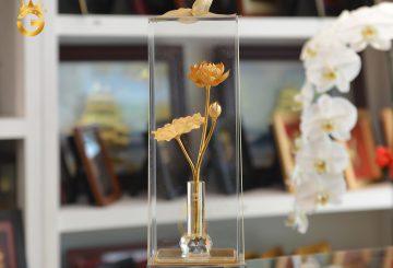 Quà tặng 20/10- biểu trưng bông hoa sen mạ vàng 24k