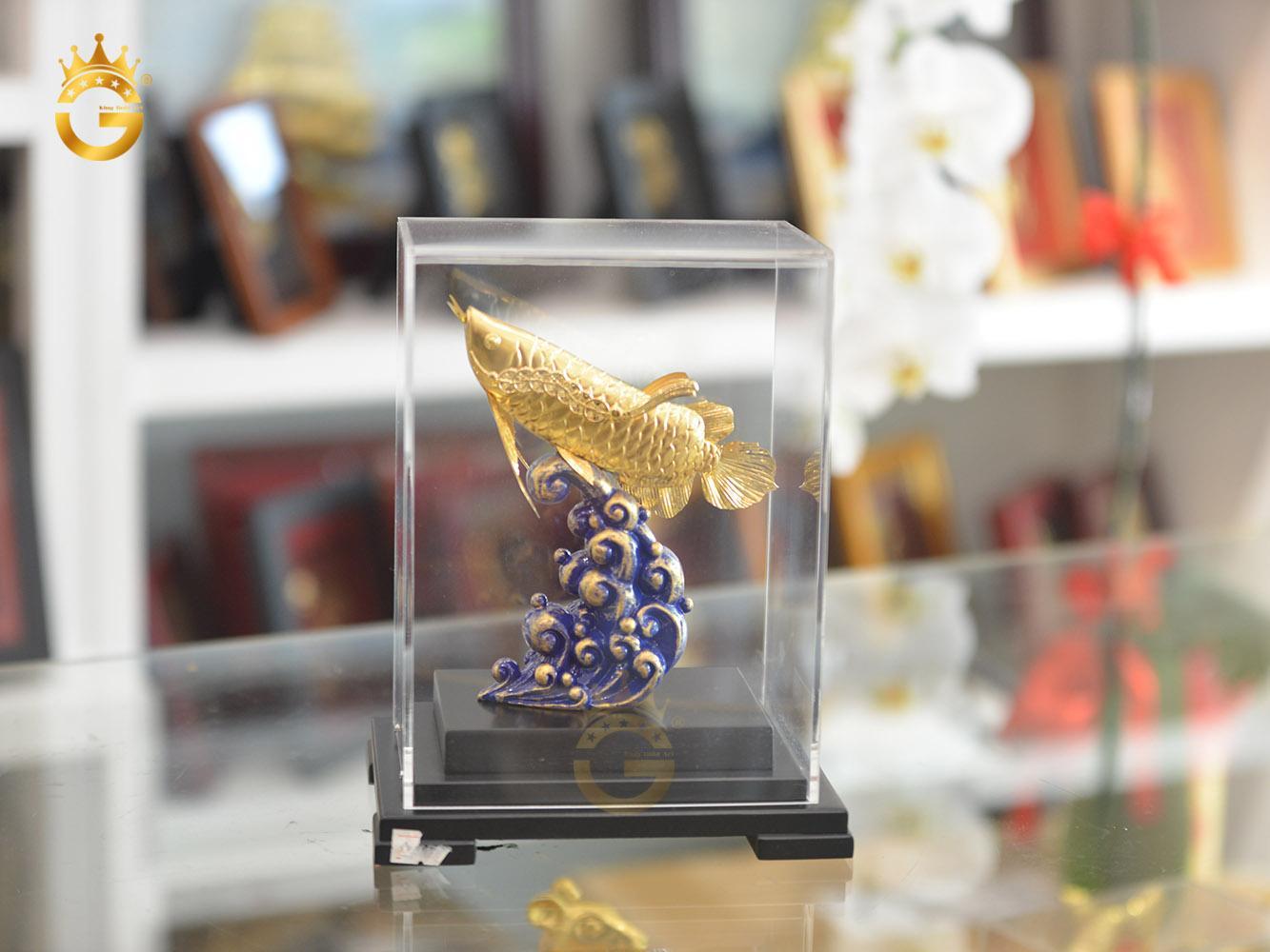 Quà Tặng Sếp- Tượng Cá Rồng Phong Thủy Mạ Vàng 24k0