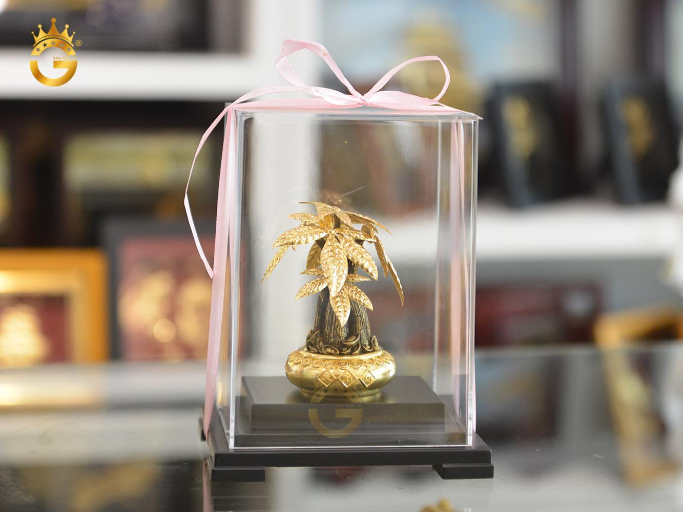 Quà tặng phong thủy cây kim ngân dát vàng 24k0