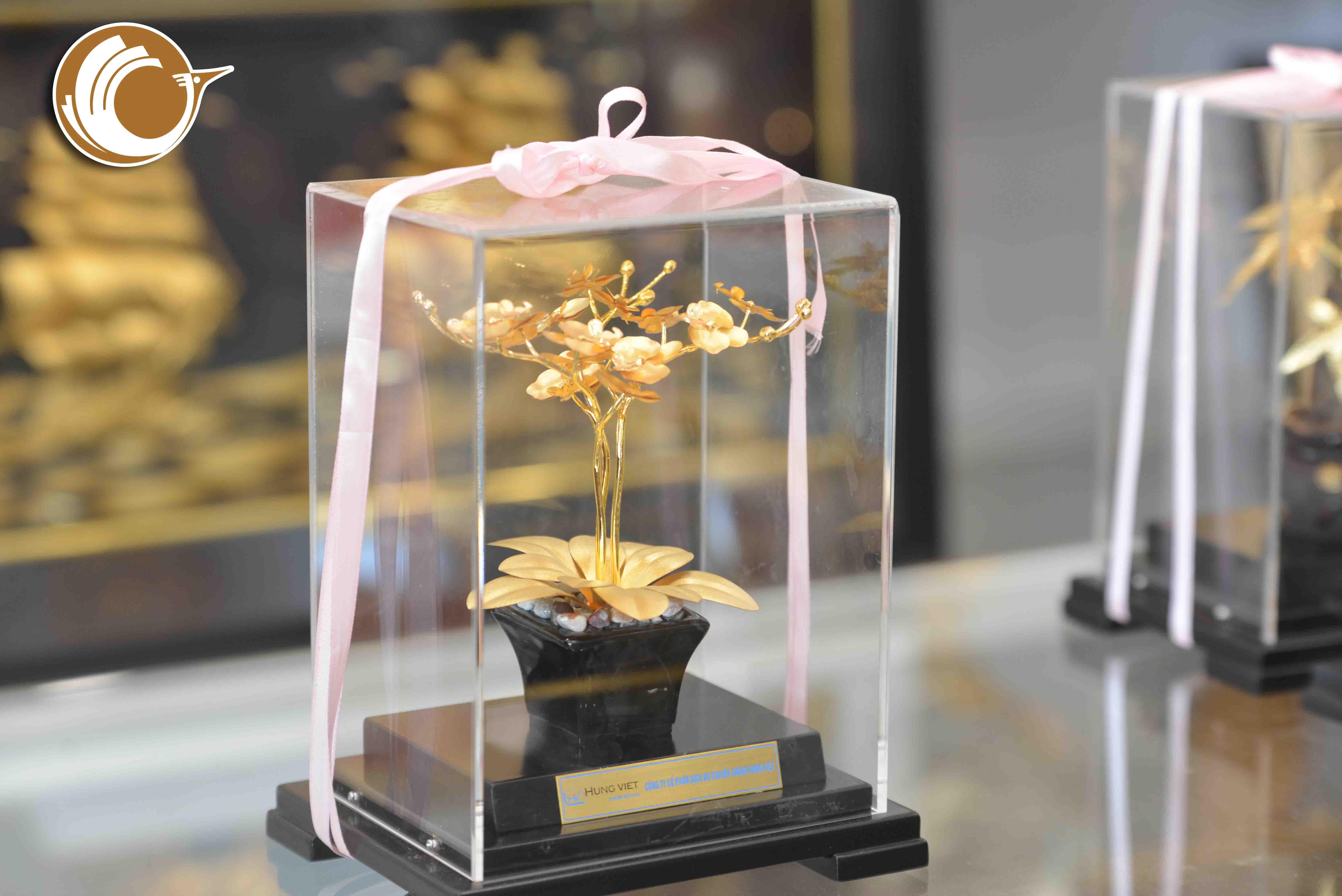 Biểu trưng hoa lan bằng đồng mạ vàng 24k, quà tặng 20-100