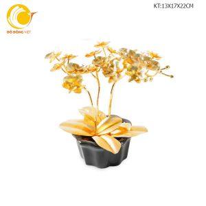 Chậu bon sai dát vàng 24k cao cấp: hoa lan hồ điệp, mai vàng, địa lan