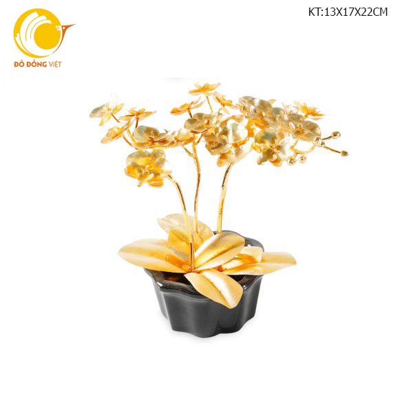 Chậu bon sai dát vàng 24k cao cấp: hoa lan hồ điệp, mai vàng, địa lan0