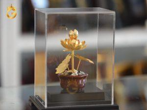 Chậu hoa sen mạ vàng 24k cao cấp- quà tặng sếp nữ