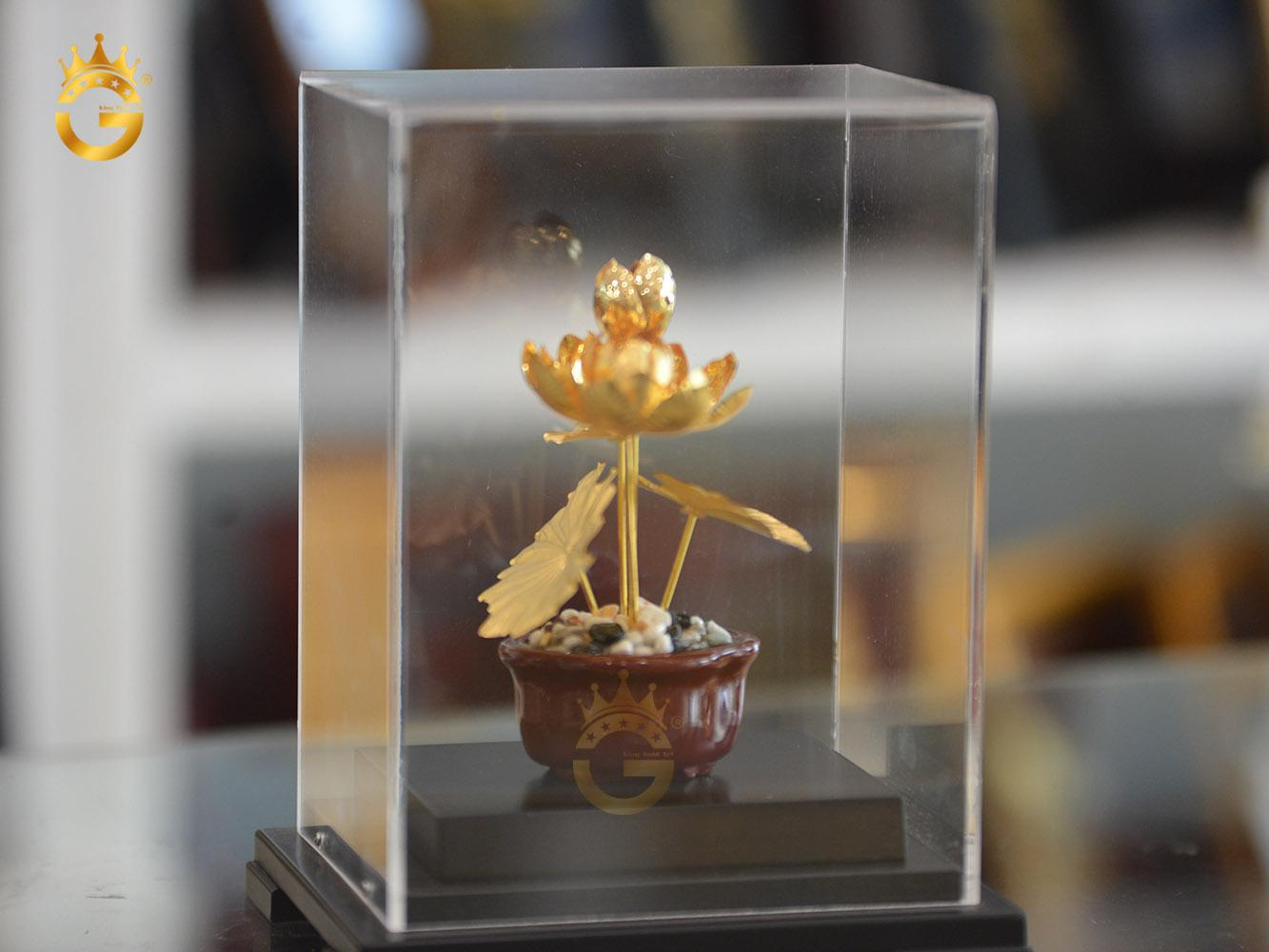 Chậu hoa sen mạ vàng 24k cao cấp- quà tặng sếp nữ0