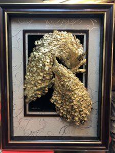 Quà tặng tranh vàng- tranh vinh hoa phú quý bằng vàng 24k