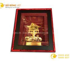 Tranh vàng chùa Một Cột 24k- quà tặng khách hàng nước ngoài ý nghĩa