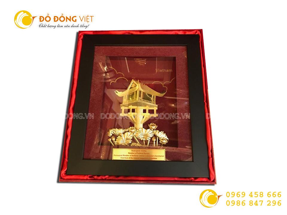 Tranh vàng chùa Một Cột 24k- quà tặng khách hàng nước ngoài ý nghĩa0