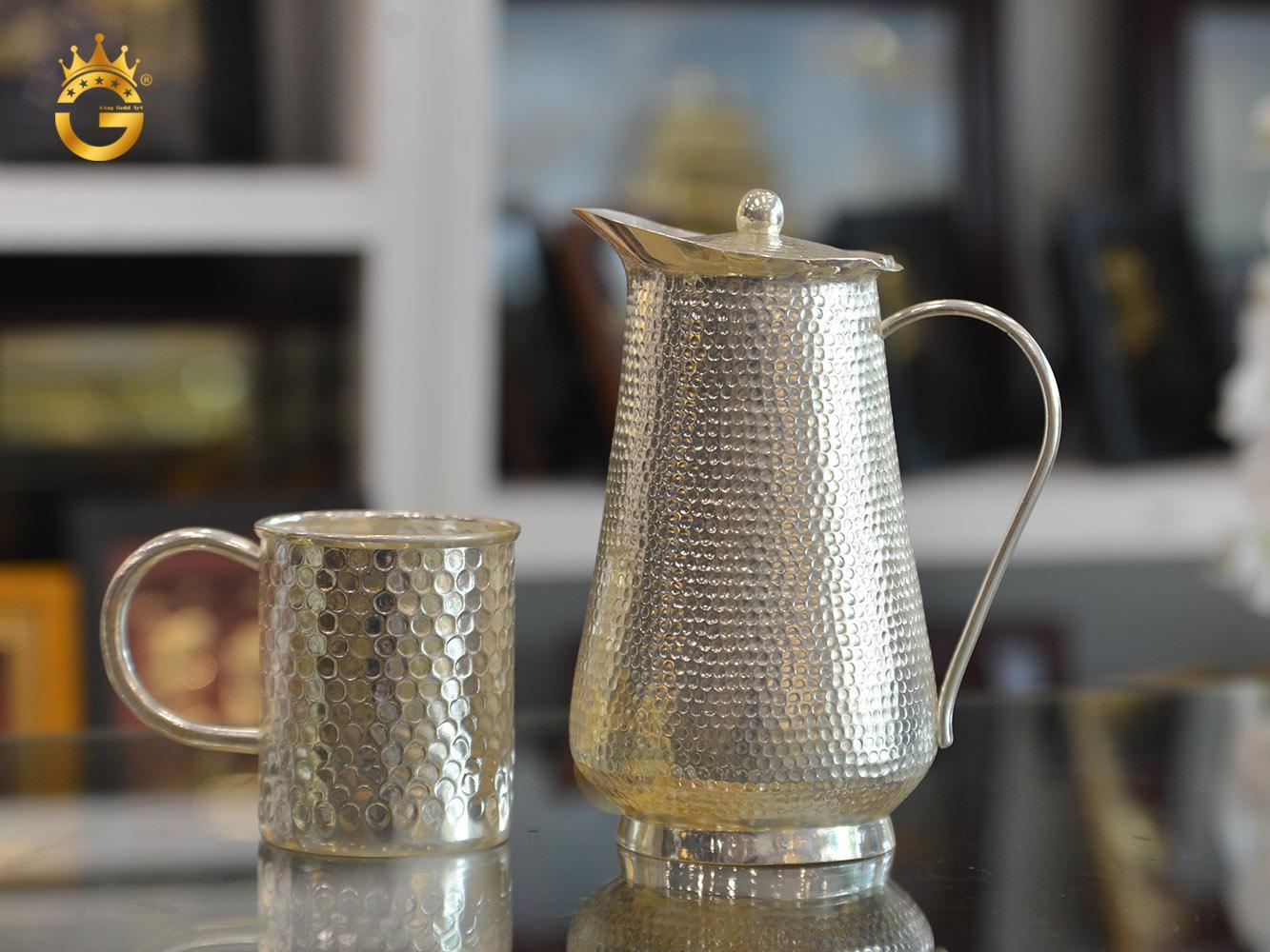 Bộ bình uống nước bằng đồng mạ bạc0