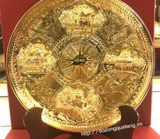 Đĩa đồng 4 cảnh đặc trưng của hà nội làm quà tặng mạ vàng