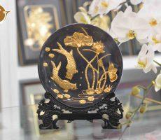 Đĩa tranh cá chép hoa sen mạ vàng 24k- quà tặng đối tác nước ngoài