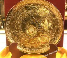Đĩa mặt trống đồng chạm bản đồ,văn hóa 4 miền đồng mạ vàng