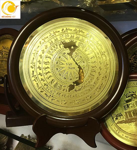 Mặt trống đồng lưu niệm hình bản đồ Việt nam dk 18cm ý nghĩa