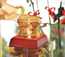 Trống đồng mạ vàng 24k đường kính 8cm