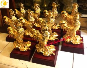 Tượng gà mạ vàng 24k cao cấp để bàn làm việc,phòng khách gia đình