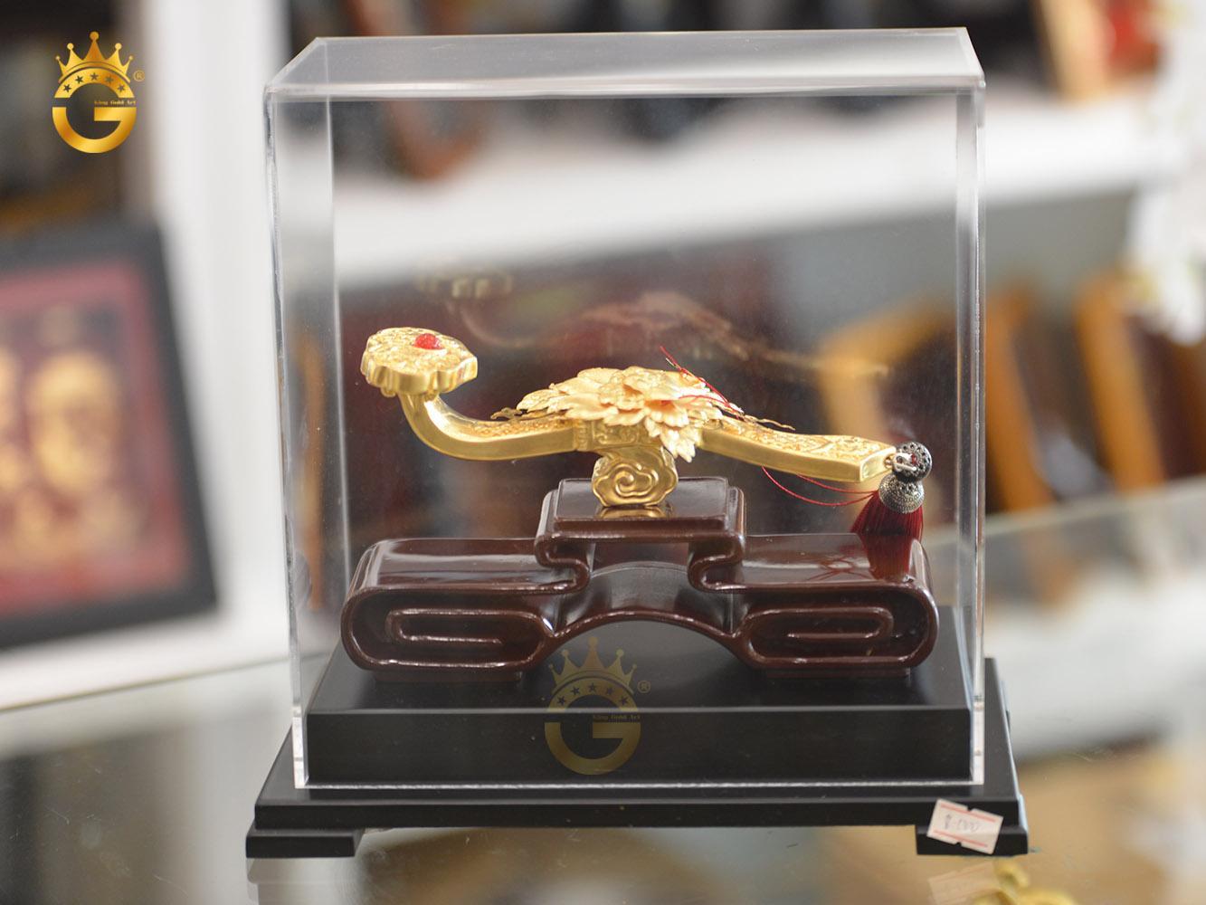 Gậy như ý bằng đồng mạ vàng 24k làm quà tặng độc đáo0