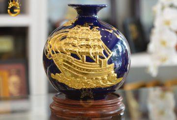 Quà tặng đối tác nước ngoài- bình gốm vẽ vàng hút tài lộc đẹp tinh xảo