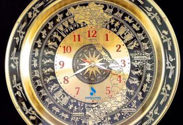 Đồng hồ trống đồng khắc logo, tên công ty làm quà tặng