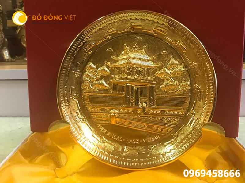 Quà tặng khách nước ngoài, đĩa đồng mô hình in trên mặt đĩa di tích chùa một cột0