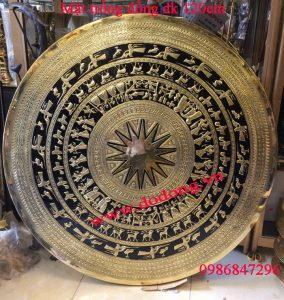 Mặt trống đồng gò tay dk 120cm đồng vàng tấm chạm tinh xảo