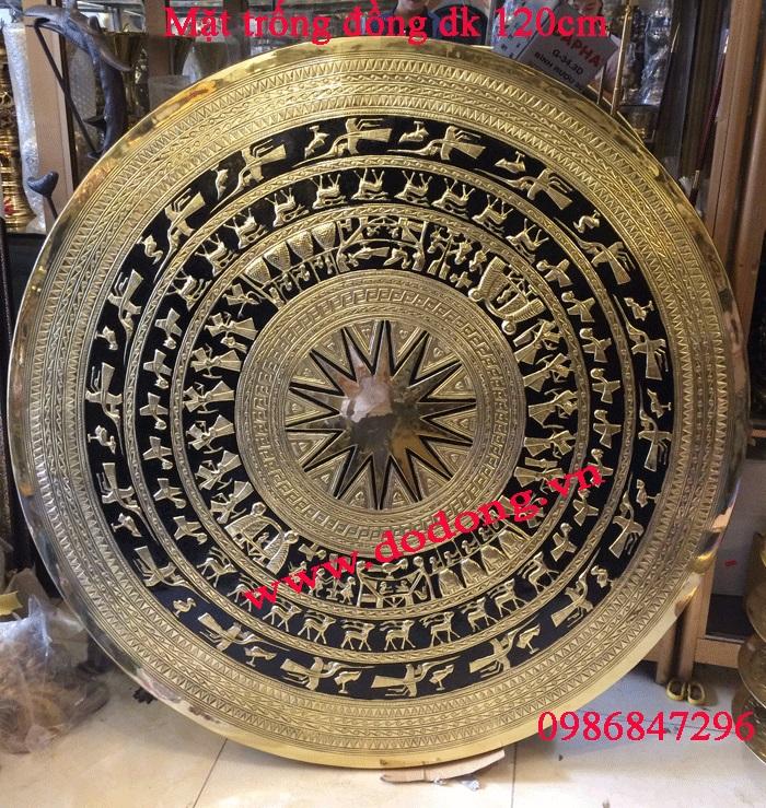 Mặt trống đồng gò tay dk 120cm đồng vàng tấm chạm tinh xảo0