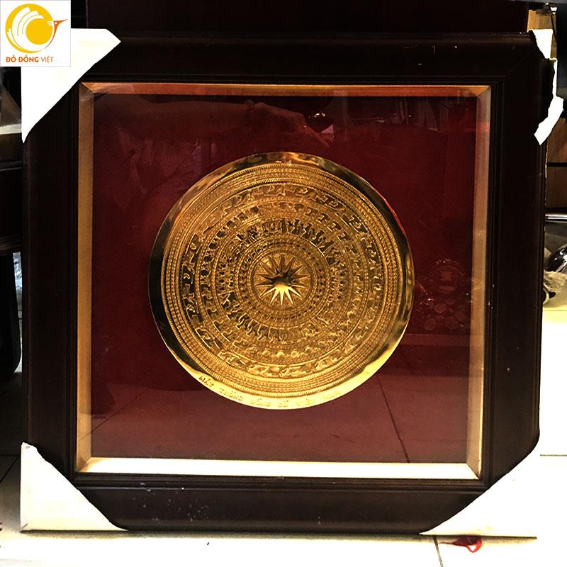 Tranh mặt trống đồng cổ Việt nam mạ vàng dk 30cm