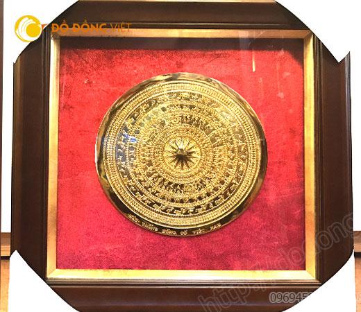 Tranh mặt trống đồng mạ vàng 24k cao cấp làm quà cho khách hàng đẹp
