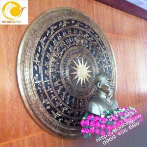Mặt trống đồng gò tay thủ công dk 250cm đồng vàng