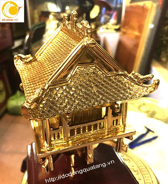 Mô hình khối chùa một cột đồng đúc mạ vàng 20cm0