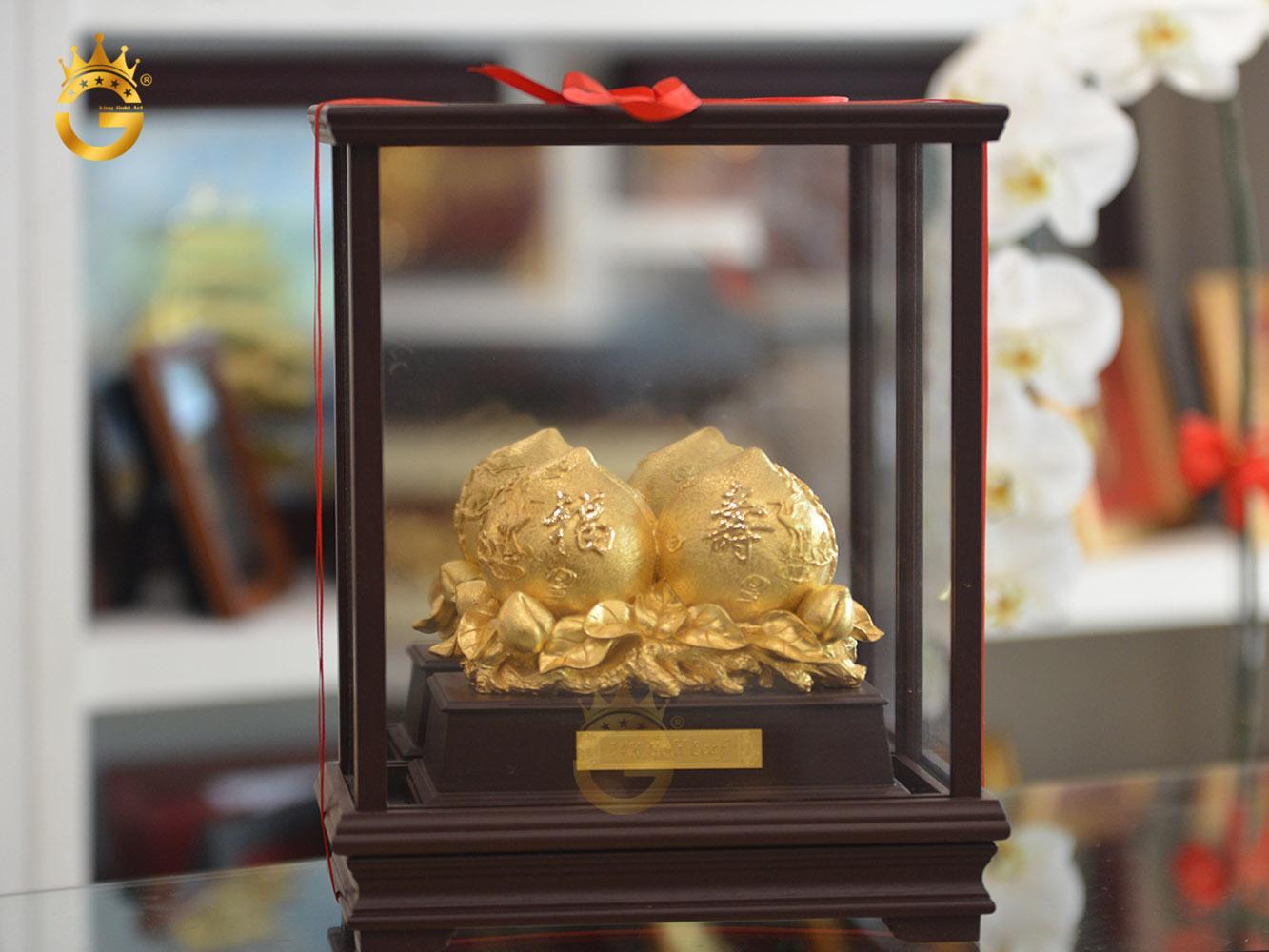 Biểu trưng quả đào phong thủy mạ vàng 24k- quà mừng thọ ý nghĩa0