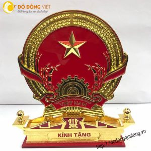 Quốc huy Việt nam bằng đồng đúc thu nhỏ mạ vàng 24k