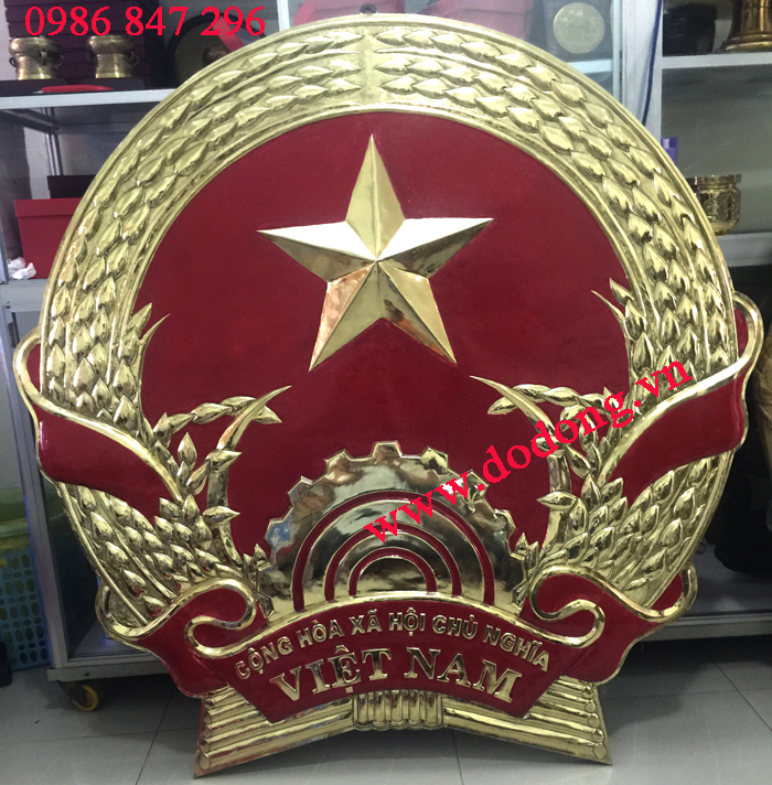 Quốc huy đồng mạ vàng,vinh quang 70 năm dk 20cm0
