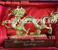 Tượng rồng mạ vàng phong thủy 33cm